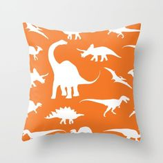 Dinosaurs Pillow Cover - Dinosaurs Decor - Orange Pillow Cover - Boy Bedroom Decor - Dinosaur Cushion Cover - Accent Pillow by AldariHome on Etsy