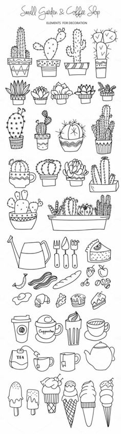 200 Doodle Ideas To try In Your Bullet Journal/ Decorate your Bujo with these doodles. From cute cactus doodles, to sea life, to cute little food. Dress up your Bullet Journal! Doodle Drawings, Doodle Art, Small Doodle, Doodle Fonts, Cartoon Drawings, Bullet Journal Inspiration, Journal Ideas, Doodle Inspiration, Journal Design