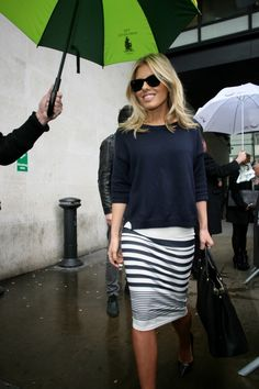striped tube skirt and grey top