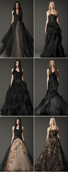 Vera Wang's black wedding dresses... if i ever get married i want to do it in one of these dresses <3<3<3