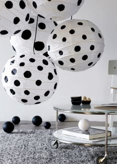 black and white polka dots on paper lanterns