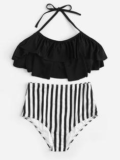 5a120753b3837 Flounce Top With Random Striped High Waist Bikini Set -SheIn(Sheinside)