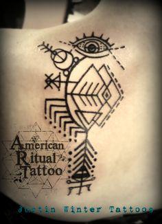 Black geometric linework tattoo by Justin winter American Ritual Tattoo Tacoma, Wa