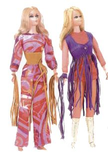 Live Action Barbie and Live Action PJ, made in 1971 - 1972.  Known as 'the Hippie Barbie' she was Fully poseable. A face mold similar to Barbie's friend Steffie was used for this doll.