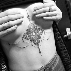 dotwork sternum tattoo