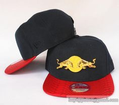 d2a0b590475 Red Bull Snapback Hats Navy Red Snakeskin Iron Metal Golden Logo 8