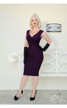 One of our best-selling, super sexy bengaline wiggle dresses, the Erin Dress is stunning in this delicious shade of plum! Inspired by screen icons of the 1950s but made for the modern lady, this dress has a gathered neckline, cross-over style bust, gathers at the shoulder, a back zip and walking slit, and flatters women of all sizes! - See more at: http://www.pinupgirlclothing.com/erin-dress-plum.html#sthash.OKJhRtSI.dpuf
