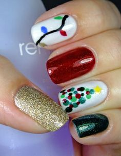 By allicat1998 on MUA - red is ChG Ruby Pumps, green is Orly Meet Me Under the Mistletoe, gold is ChG I'm Not Lion, and white is ChG Dandy Lyin Around.