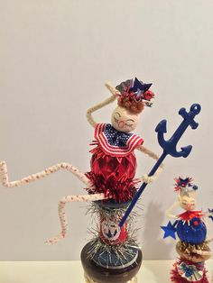Spun Cotton Doll Pipecleaner Figure Vintage Style Gal Bell