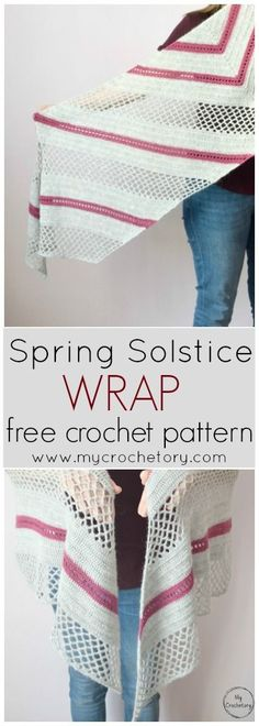 Spring Solstice Wrap is a trapezoid shaped shawl using the basic stitches perfecly combine to create the mesh lace portions and the contrastive eyelet stripes. Free crochet pattern with charts on my blog www.mycrochetory.com