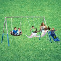 Heavy Duty Metal Swing Set Glider Kids Toddler Playground Backyard Outdoor Slide #Unbranded Playground Swing Set, Toddler Playground, Backyard Swing Sets, Backyard Playground, Swing And Slide Set, Toddler Slide, Metal Swing Sets, Gliders, Kids