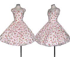 Vintage 50s Party Dress / White Dress / Prom Dress / Floral Dress / Rockabilly / Pin up / Fifties Dress / 1950s Dress / 50s Dress / Size M. $138.00, via Etsy.