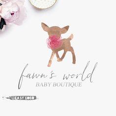 Items similar to Whimsical Fawn Logo. Boutique Logo, Baby Boutique, Diy Rustic Decor, Rustic Design, Computer Logo, Watercolor Branding, Bakery Logo, Business Logo Design, Modern Logo