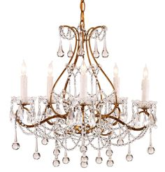 $554 . Currey and Company crystal gold chandelier   #lighting #chandeliers #Currey #transitional #traditional #crystal #gold