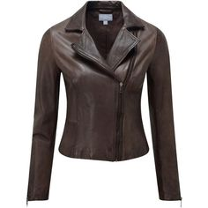 Pure Collection Paloma Biker Jacket, Mole (£299) ❤ liked on Polyvore featuring outerwear, jackets, long sleeve jacket, fitted jacket, distressed moto jacket, fitted motorcycle jacket and lamb leather jacket