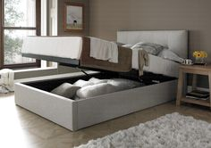 MW Kaydian Design Dreydern 5FT Kingsize Ottoman Bed - Oatmeal