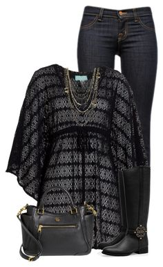 """""""Tunic Shirt and Black Boots"""" by daiscat ❤ liked on Polyvore featuring J Brand, Melissa Odabash and Tory Burch"""