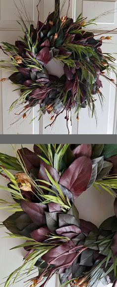 Natural Preserved Autumn Indoor Wreath, Dried Salal Branches and Leaves pinecone wreath Royal Fall Office Interior Mantle Living Room Holiday Family Christmas Thanksgiving Table Dinner Centerpiece Decoration Housewarming New Home Gift Present Ideas Fall Wedding Burgundy Guestbook Table Ideas Doorway Garland Circlet Spray #affiliatelink