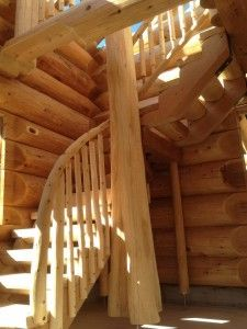 Beautiful custom built log stairs.