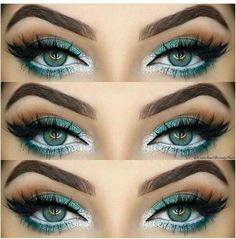 Teal and silver eye makeup More