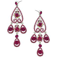 [E/R]-Fuchsia Rhinestone Chandelier Earrings