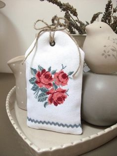The Cabbage Rose Cross Stitch Love, Cross Stitch Flowers, Cross Stitch Designs, Cross Stitch Patterns, Embroidery Needles, Cross Stitch Embroidery, Hand Embroidery, Embroidery Designs, Lavender Bags