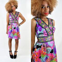New: vintage 60s PAISLEY EMPIRE waist mini dress size XS/S by PasseNouveauVintage, $55.00