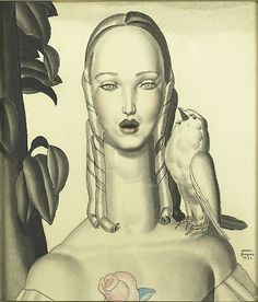 Jean Dupas – Untitled (Figure with Bird), 1931; Ink, graphite and pastel on paper