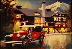 """A work-in-progress shot of """"Moonlit Lodge"""" 11x14 for a """"quick finish"""" at the May 24, 2013 Swing For Glacier fund raising event at the beautiful Lake McDonald Lodge. That's a 1925 Cadillac Touring Car in use in the park before the current White/Ford buses.  Glacier National Park."""
