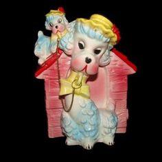 Vintage POODLE DOG MOM & BABY BANK Figurine Ceramic