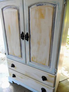 Emily's Up-cycled Furniture: shabby chic armoire before and after