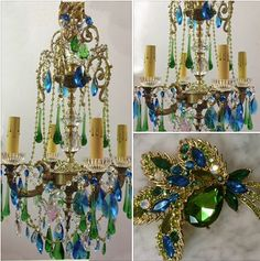 Colorful Peacock Jewels ~ Chandelier By I Lite For U