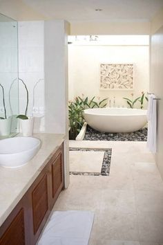 Tropical bathroom theme will work for adults and children. Tropical decor is a great way to brighten up the small bath or turn the master bathroom into a retreat. You can design a tropical bathroom for a sense of elegance,… Continue Reading → Balinese Bathroom, Zen Bathroom, Simple Bathroom, Modern Bathroom, Bathroom Tubs, Bathroom Ideas, Balinese Decor, Bathroom Cabinets, Tropical Bathroom Decor