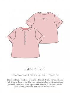 Atalie Top Flat - This page has quite a few free woman's garment patterns on it ready to be downloaded.