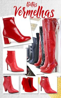 Red Fashion, Girl Fashion, Womens Fashion, Ankle Boots, Heeled Boots, Bad Girl Style, My Style, Red Boots, Cowboy Boots