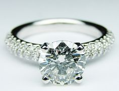 Round Diamond Engagement ring double row pave band in 14K White Gold