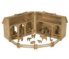 Wooden Toy Barn and Farm Animal Set
