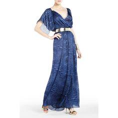 BCBGMAXAZRIA - DRESSES: SHOP BY COLOR: MADELEINE CROCODILE-PRINT CHIFFON EVENING GOWN