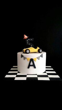 Little cake made for my son! 2nd Birthday Party For Boys, Hot Wheels Birthday, Baby Birthday Cakes, Cars Birthday Parties, Race Car Birthday, Race Car Party, Car Cakes For Boys, Race Car Cakes, Racing Cake
