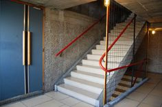 Le Corbusier, Interior stairs to the roof garden. Le Corbusier, Interior Stairs, View Image, Concrete, Building, Design History, Interiors, Modernism, Architects