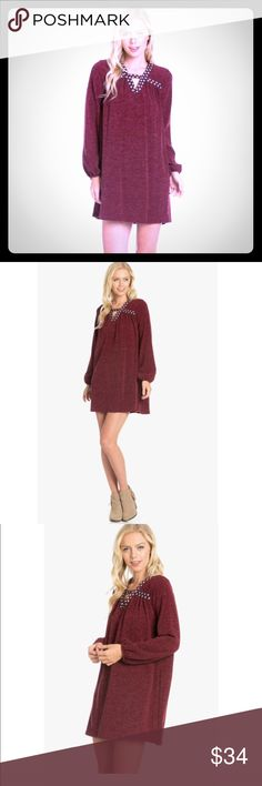 Coming Soon! Heather Knit Dress Embroidered Heather Knit Dress! Coming Soon. Comment Size for holds. Super cute. Mini. Loose Fit. 95% Polyester 5% Spandex Made in the USA. Dresses Mini