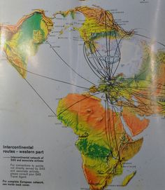 1973 Route Map for Scandinavian Airlines SAS using flat earth map