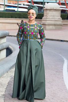 Modest Army Green African Print Dress