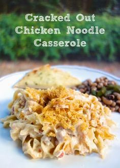 Cracked Out Chicken Noodle Casserole Recipe - 1/2 Recipe = 2 cups cooked chopped chicken 1 cans cream of chicken soup 8 oz sour cream 1/2 (1oz) packet Ranch dressing mix 1 1/2 oz bacon pieces 1/2 cup cheddar cheese 6 oz egg noodles 1/2 cup crushed Fritos