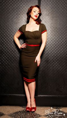 Military Pinup Dress in Olive Green with Red Details from Pinup Couture | Pinup Girl Clothing