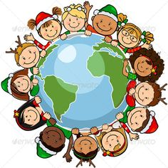 The worlds children in a circle in the world with christmas clothes -single level-without the effects of transparency-EPS8