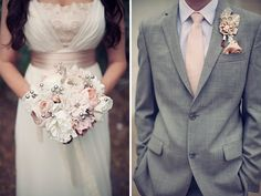 Love the pink, ivory, grey color scheme. Also love idea of doing suits instead of tuxes. And!! Love her fabric flower bouquet!
