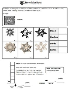 Free Snowflake Mean, Median, Mode, and Range printable for Winter Math activity.