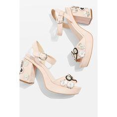 TopShop Laney Embellished Platform Sandals ($100) ❤ liked on Polyvore featuring shoes, sandals, nude sandals, ankle strap sandals, embellished sandals, high heel platform sandals and platform sandals