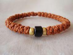 Ochre Cotton Prayer Rope Bracelet with a Bead by BYZANTINO on Etsy